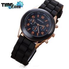 Đồng hồ nữ dây silicon TimeZone Geneva Khởi My (Dây Đen, Mặt Đen)