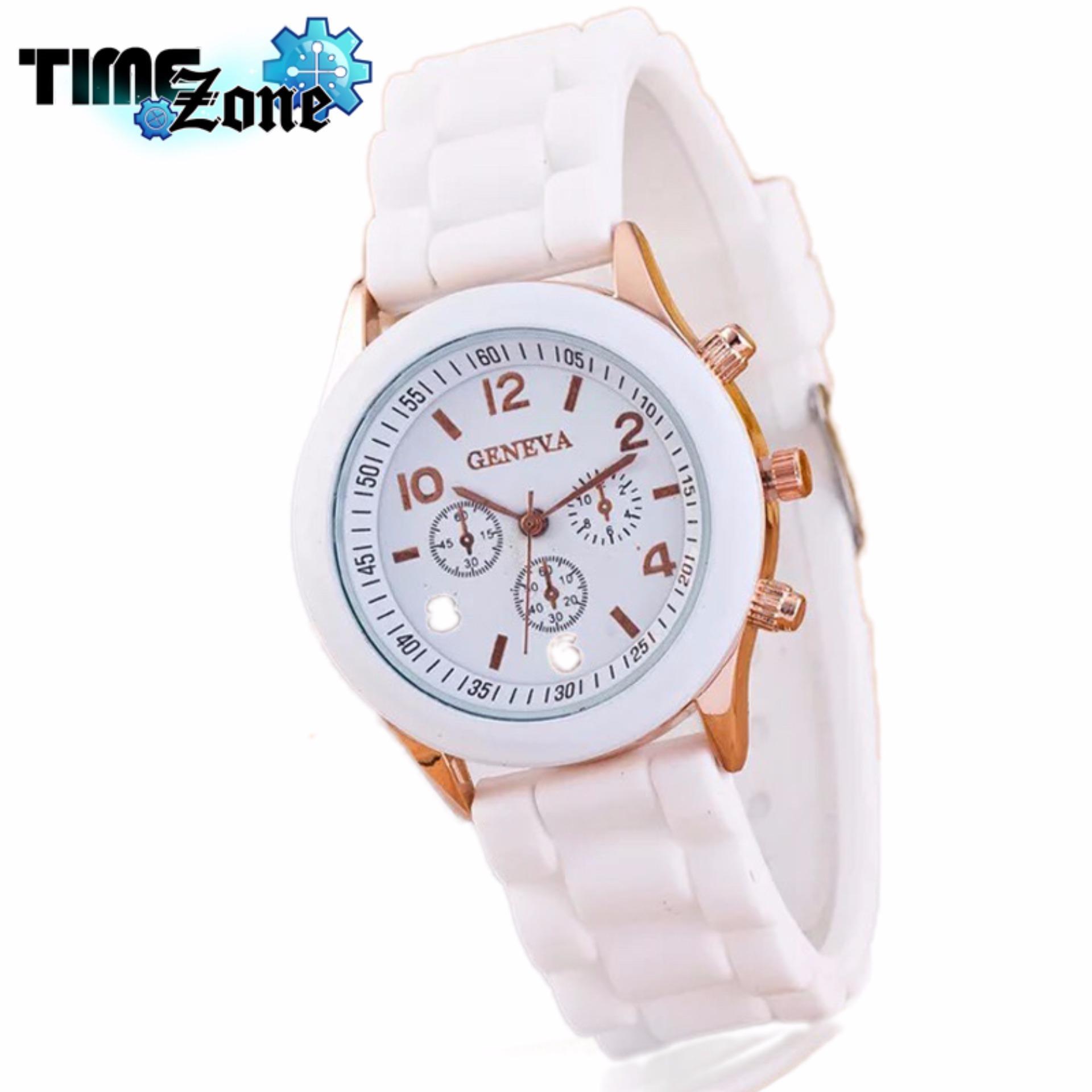 Đồng hồ nữ dây silicon TimeZone Geneva Khởi My (Dây Trắng, Mặt Trắng)