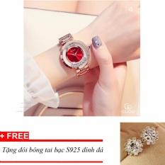 Đồng hồ nữ dây thép đá lăn GUOU size 35mm MDH-Gu018 (đỏ) + tặng bông tai đính đá