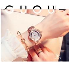 Đồng hồ nữ dây thép đá lăn GUOU size 35mm TP-Gu018 (trắng) tặng vòng tay đá đen