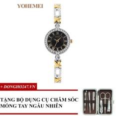 Đồng hồ nữ dây thép đính đá YOHEMEI CH393 – 1A + GD01 + Tặng bộ cắt móng tay ngẫu nhiên
