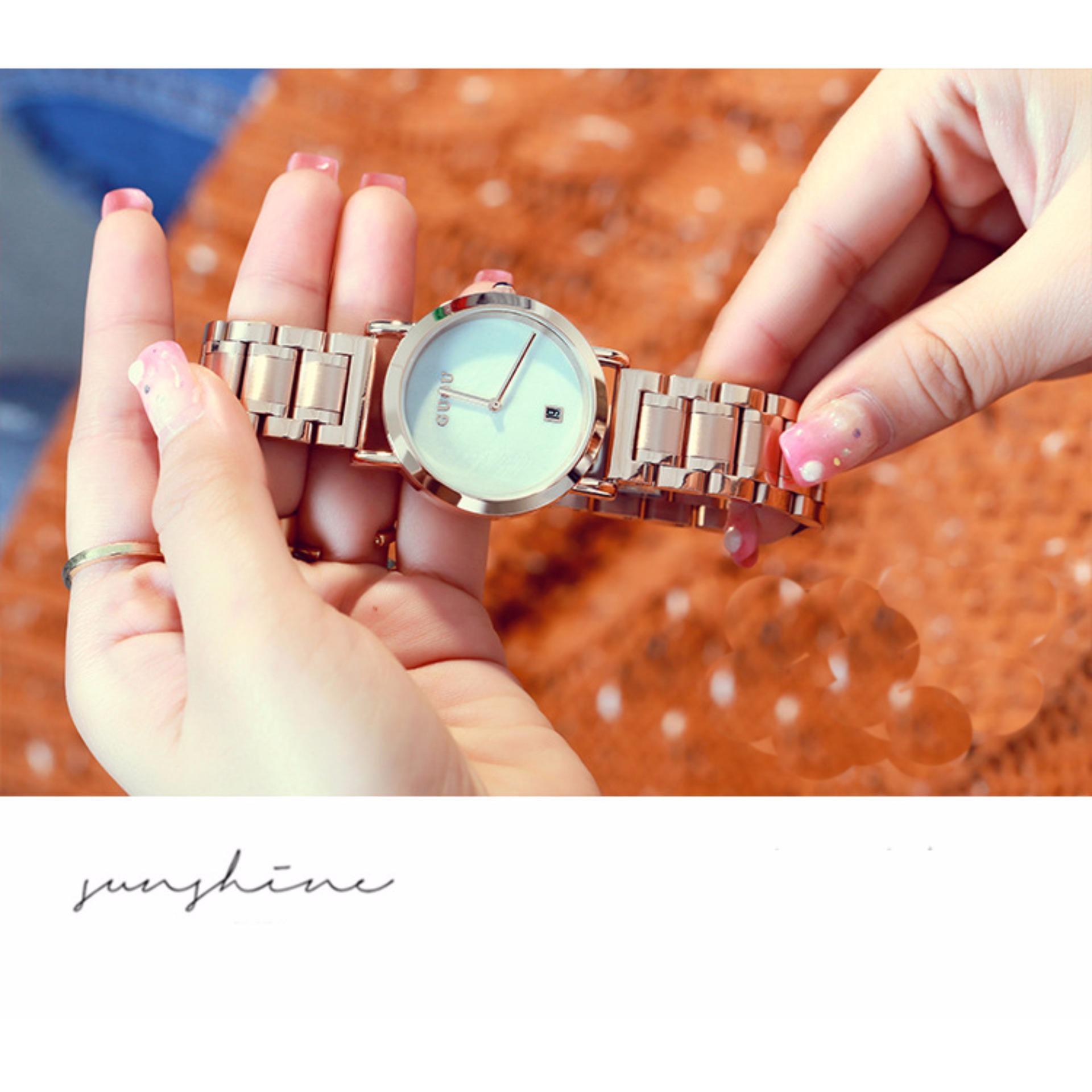 Ở đâu bán Đồng hồ nữ dây thép khóa bướm cao cấp GUOU 8066 (màu trắng)