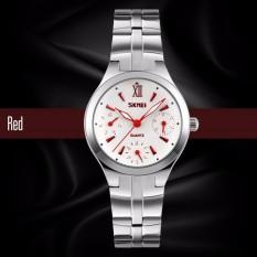 Đồng hồ nữ dây thép không gỉ 6 kim Skmei 9132 thanh lịch ( Trắng phối kim đỏ)