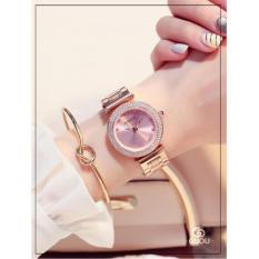 Đồng hồ nữ dây thép không gỉ cao cấp GUOU G8112 màu hồng