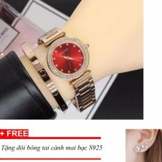Đồng hồ nữ dây thép không gỉ cao cấp Guou ST-Gu1132, tặng bông tai cành hoa mai