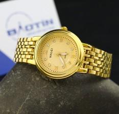 Đồng hồ nữ dây thép không gỉ Halei mạ vàng DHNL1073