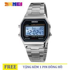 Đồng hồ nữ dây thép không gỉ SKMEI 1123 Digital (Silver)