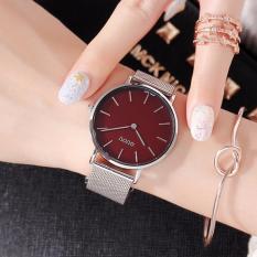 Đồng hồ nữ dây thép lụa bạc 2 kim GUOU cao cấp MDL-G6003