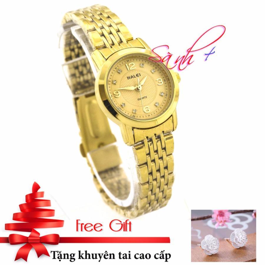 Đồng hồ nữ dây thép mạ vàng HALEI mặt vàng