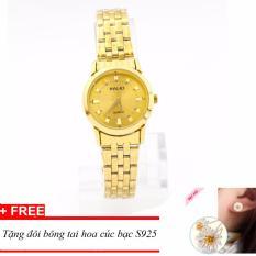 Mẫu sản phẩm Đồng hồ nữ dây thép mạ vàng HALEI, tặng kèm bông tay hoa cúc bạc 925 TPO-HL4404
