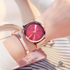 Đồng hồ nữ dây thép mặt trơn đính đá GUOU cao cấp MDL-G8172