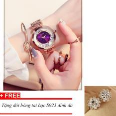 Đồng hồ nữ dây thép đá lăn GUOU size 35mm MDH-Gu018 (tím) + tặng bông tai đính đá