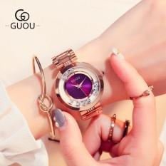 Đồng hồ nữ dây thép đá lăn GUOU size 35mm MDH-Gu018 (tím) + tặng vòng tay đá hồng