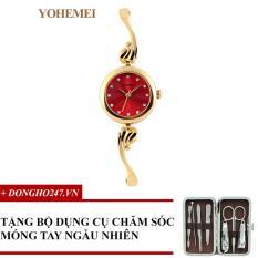 Đồng hồ nữ dây thép đính đá YOHEMEI CH375 – 4A + GD01 + Tặng bộ cắt móng tay ngẫu nhiên