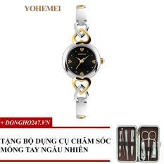 Đồng hồ nữ dây thép đính đá YOHEMEI CH376 – 1A + GD01 + Tặng bộ cắt móng tay ngẫu nhiên