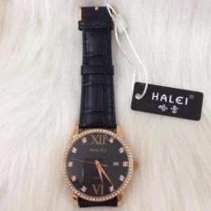 Đồng hồ nữ đính đá dây da nâu Halei ( mặt đen)