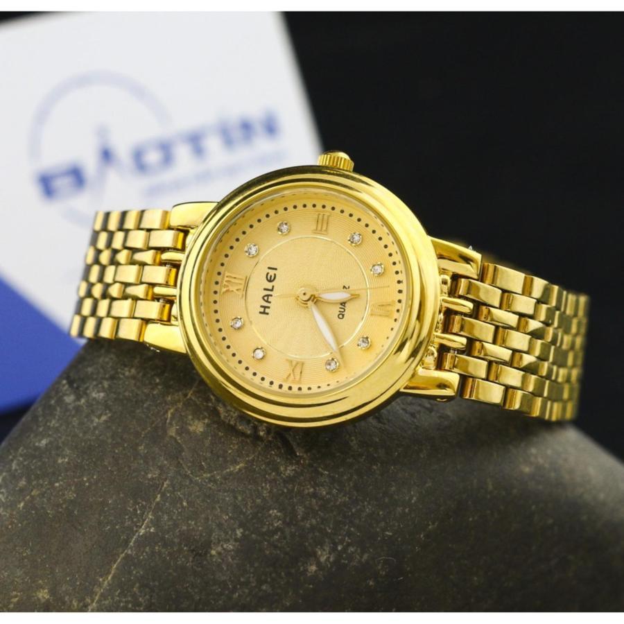Đồng hồ nữ đính đá HALEI JAPAN chống nước tốt – Dây vàng mặt vàng.