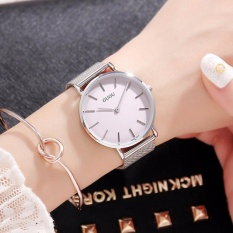 Đồng hồ nữ GUOU 2 kim dây thép nhuyễn bạc cao cấp TP-6003