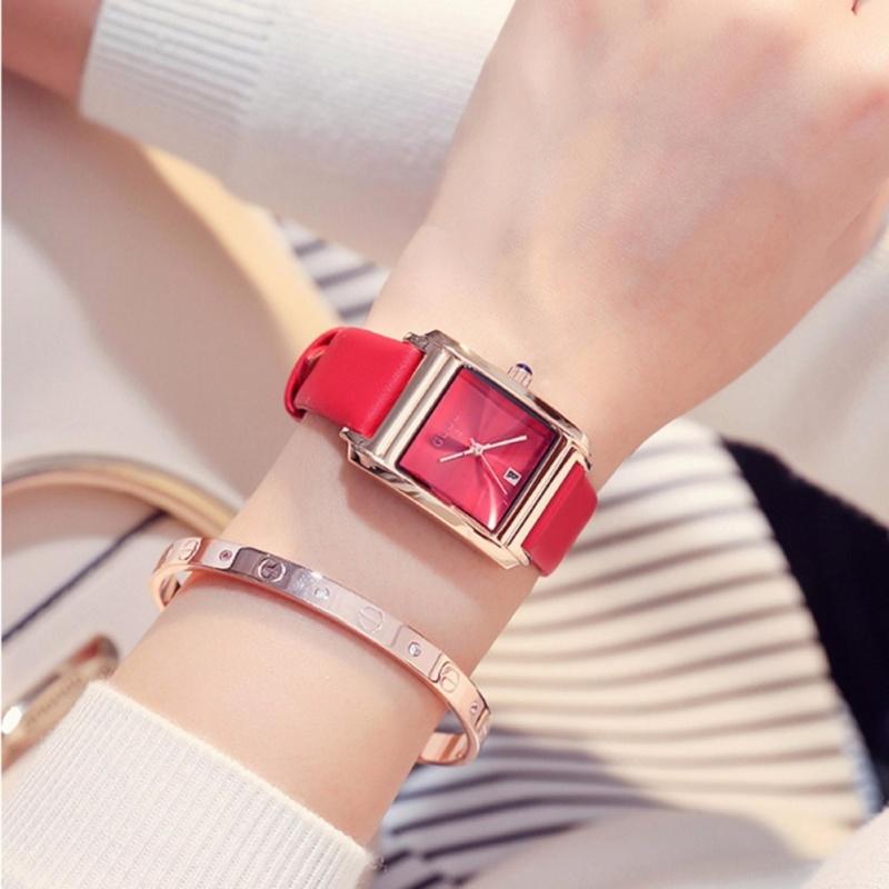 Nơi bán Đồng hồ nữ GUOU chất liệu dây da viền vàng mặt chữ nhật sang trọng