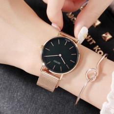 Đồng hồ nữ GUOU chất liệu dây thép nhuyễn vàng 2 kim trẻ trung