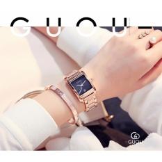Đồng hồ nữ GUOU chất liệu dây thép,mặt vuông sang trọng