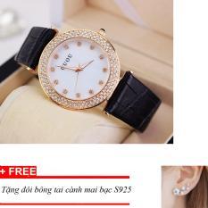 Đồng hồ nữ GUOU dây da mặt đính đá ST-Gu176, tặng bông tai cành hoa mai