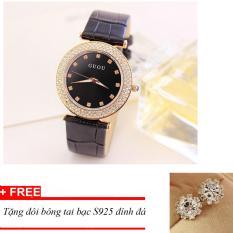 Đồng hồ nữ GUOU dây da mặt đính đá TPO-Gu169 (đen) tặng bông tai bạc đính đá