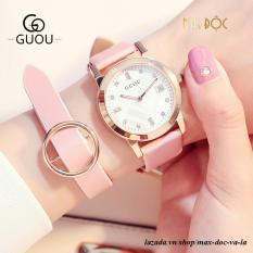 Đồng hồ nữ GUOU 8086 dây da mềm mặt số đính đá sang trọng MDL-G8086L