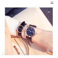 Đồng hồ nữ GUOU dây da mềm cao cấp mặt số đính đá trẻ trung thanh lịch JS-G8086L