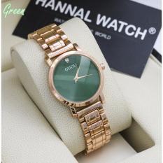 Đồng hồ nữ Guou GU171 mặt đính đá sang trọng + Tặng kèm vòng tay thạch anh – Mặt xanh