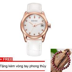 Đồng hồ nữ GUOU mặt số đính đá chất liệu dây da sang trọng- tặng vòng tay phong thuỷ