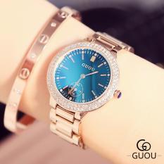 Đồng hồ nữ GUOU mặt viền đá kim rốn dây thép quý phái G42-86