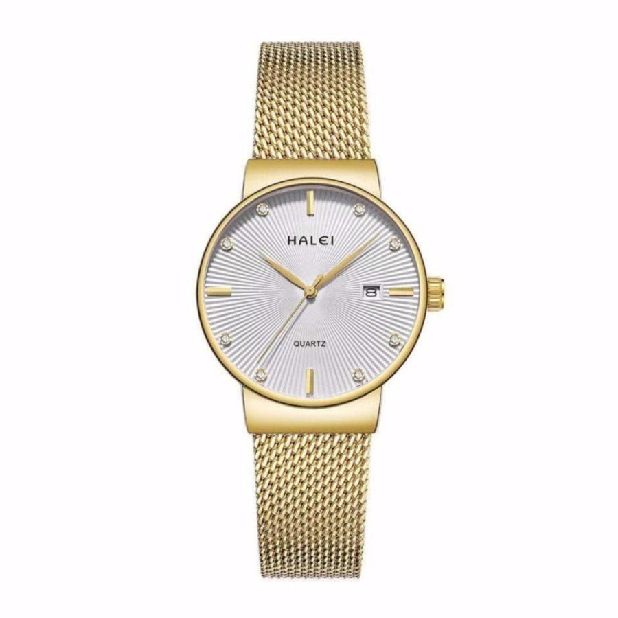 Đồng hồ nữ Halei 1533 dây mành vàng mặt trắng – N1464