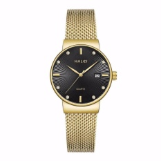 Đồng hồ nữ Halei 1533 dây vàng mặt đen chống nước