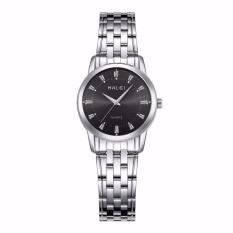 Đồng hồ nữ Halei 502 dây day trắng mặt đen