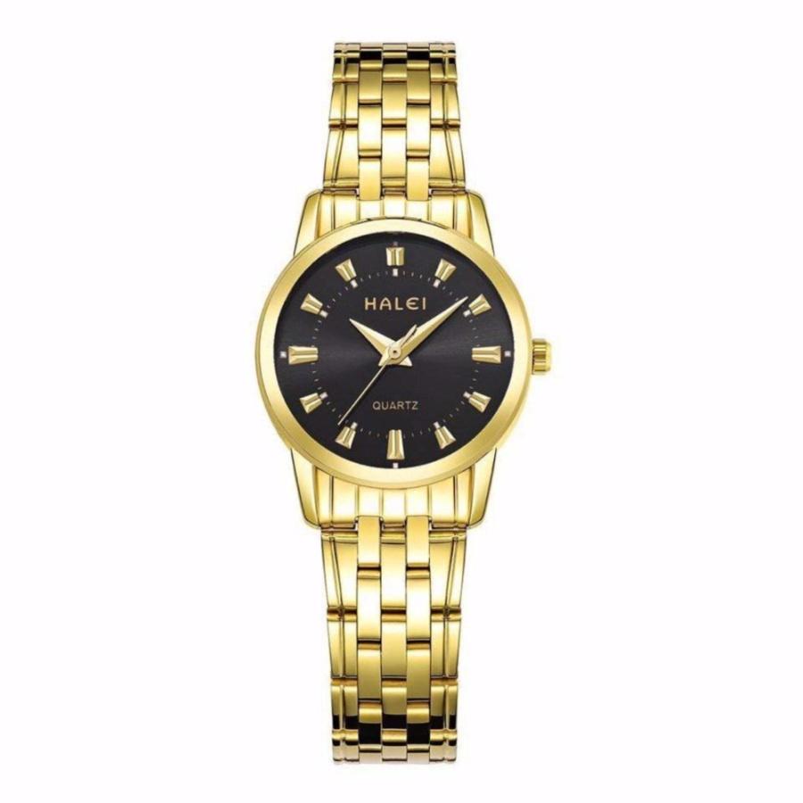 Đồng hồ nữ Halei 502 dây vàng mặt đen – N1998