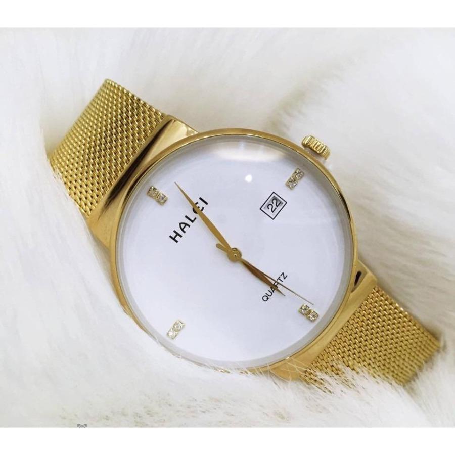 Đồng hồ nữ halei H8024BM mặt đen dây màng vàng cực duyên dáng