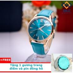 Đồng hồ nữ JULIS dây da JU1207 (xanh ngọc) + tặng 1 gương trang điểm và pin đồng hồ EBUZ