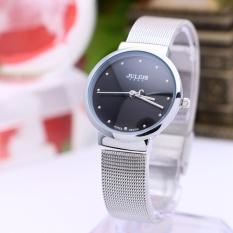 Đồng hồ nữ JULIUS Hàn Quốc dây thép JU1052 (Bạc mặt đen)