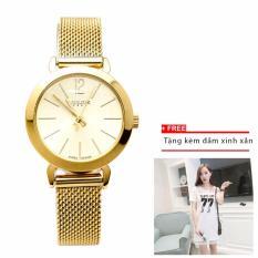 Đồng hồ nữ JULIUS JU970 vàng+ đầm nữ xinh xắn