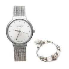 Đồng hồ nữ Julius siêu mỏng JU1052 ( bạc ) và Lắc tay thời trang trái tim VT034