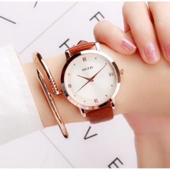 Đồng hồ nữ kezzi dây da mềm mặt tròn thời trang sang trọng WH-K1208(Nâu) - 4