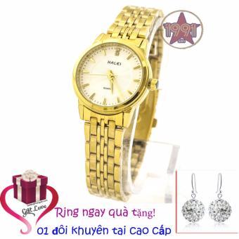 Chỗ nào bán Đồng hồ nữ mạ vàng cao cấp Halei chống nước HL5906 (mặt trắng) + Tặng kèm một đôi khuyên tai cao cấp