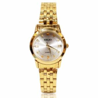 Đánh Giá Đồng hồ nữ mạ vàng cao cấp Halei HL208 – Dây vàng mặt trắng. Tặng kèm vòng tay thạch anh