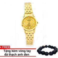 Chỗ bán Đồng hồ nữ mạ Vàng cao cấp HaLei HL443 (Mặt Vàng) +Tặng kèm vòng tay thạch anh đen