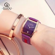 Đồng hồ nữ mặt quả trám viền vàng,dây da có lịch ngày trẻ trung GUOU
