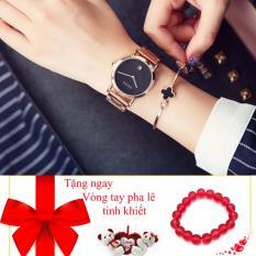 Đồng hồ nữ mặt trơn,dây thép có lịch ngày GUOU – tặng vòng tay sắc màu