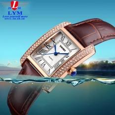 Đồng hồ nữ mặt vuông viền đính đá sang trọng dây da SKMEI 1111 (dây nâu)