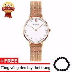 Đồng hồ nữ mỏng 6 mm dây Titanium Skmei 1029