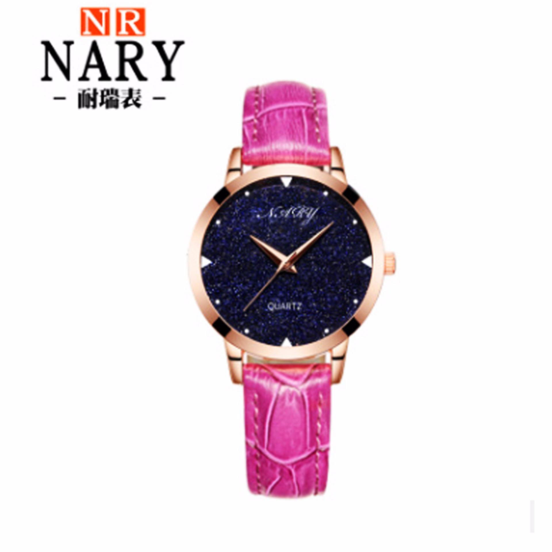 Đồng hồ nữ NARY 7002 DÂY DA ĐẸP (Viền Vàng – dây hồng)